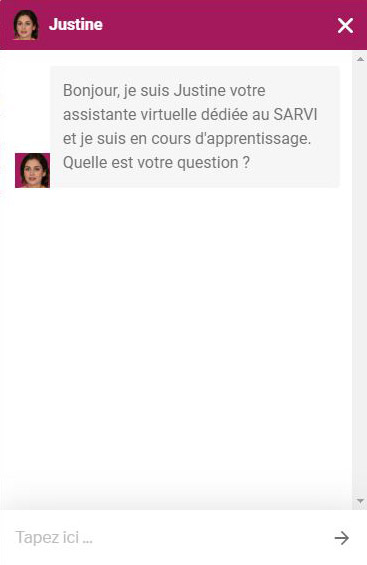 Exemple de message du Chat Bot Justine.