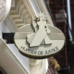 Pancarte symbole Huissier de Justice