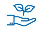 Pictogramme d'une main paume en l'air avec une fleur au dessus